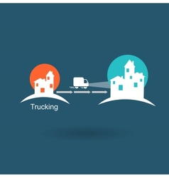 Trucking from one city to another icon vector