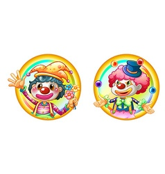Two clowns on round badges vector
