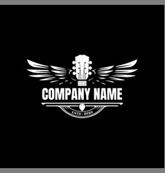Vintage retro guitar wing wings music logo design vector