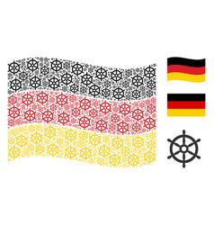waving german flag pattern of boat steering wheel vector image