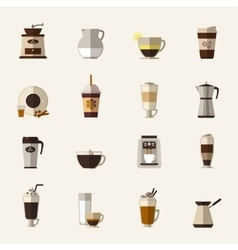 Coffee flat icons vector image