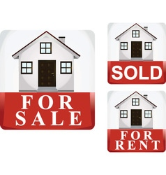 for sale sold and for rent icon vector image