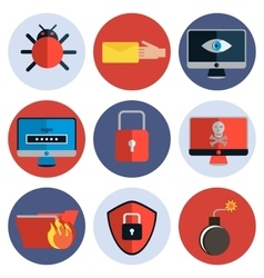 Hacking protection flat icon set vector image