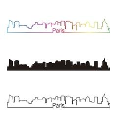 Paris V2 skyline linear style with rainbow vector image vector image