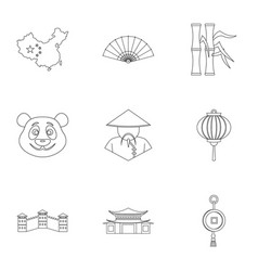 china republic icon set outline style vector image vector image