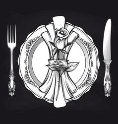 elegance romantic table setting on blackboard vector image vector image