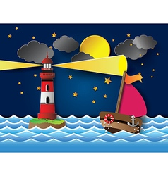 Yacht on sea night full moon and lighthouse vector
