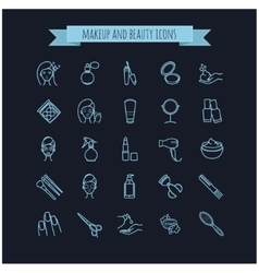 beauty make up and cosmetics icons set vector image