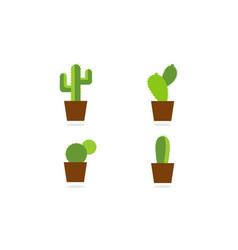 collection cactus logo vector image