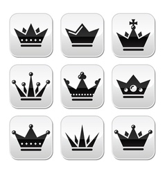 Crown royal family buttons set vector image