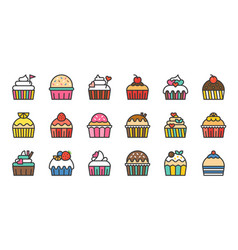 set of cute fancy cup cake filled outline icon vector image