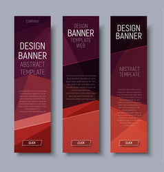 set vertical banners with brown polygonal vector image