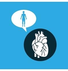 Silhouette man heart anatomy body vector