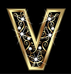 V gold letter with swirly ornaments vector image