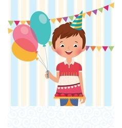 Boy celebrating his birthday vector image