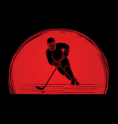 Hockey player pose graphic vector