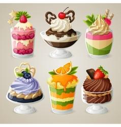 Sweets ice cream mousse dessert set vector