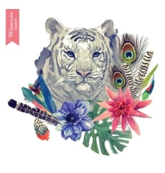 Vintage indian style tiger head with vector image