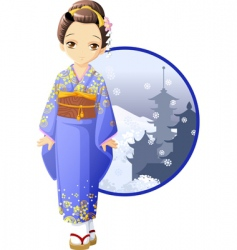 winter kimono girl vector image vector image