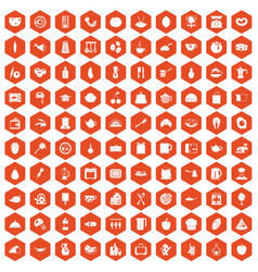 100 cooking icons hexagon orange vector