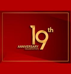 19 anniversary celebration logotype golden color vector