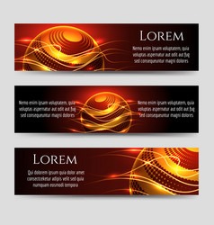Abstract horizontal banners with light sphere vector