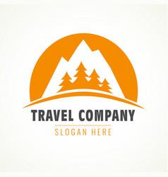 Adventure mountain pine tree logo vector