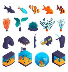 Aquarium isometric set vector