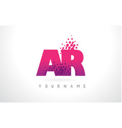 Ar a r letter logo with pink purple color and vector