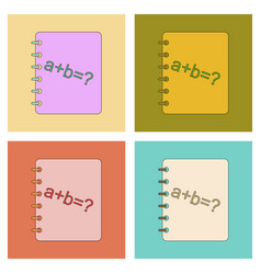 assembly flat icons math book vector image vector image
