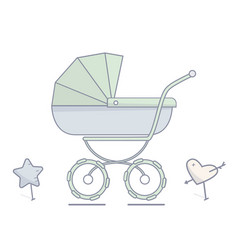 baby stroller flat linear vector image