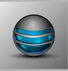 blue sphere as emblem vector image