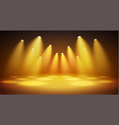 bright warm spotlights with stage big space for vector image