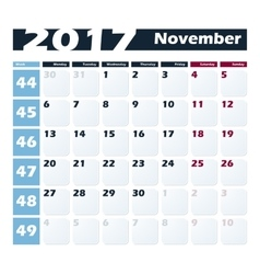 Calendar 2017 November design template vector image
