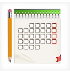 calendar open pencils vector image