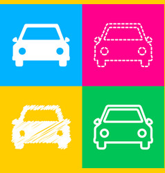 car sign four styles of icon on four vector image