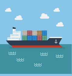 cargo shipping with containers vector image