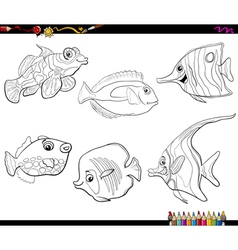 cartoon fish set coloring page vector image