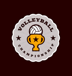 champion volleyball logo modern professional vector image