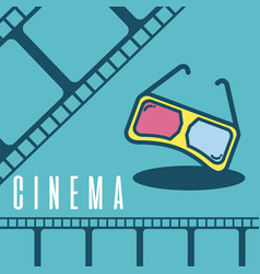 Cinema cartoon symbol over reel background vector