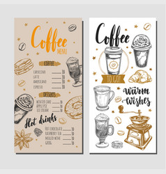 coffee and bakery restaurant menu 4 vector image