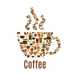 Coffee steamy cup symbol poster vector