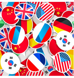Colorful speech bubbles with flags different vector