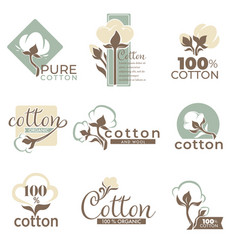 cotton isolated icons pure and organic product vector image