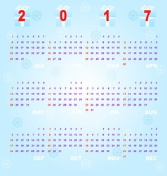 Created blue bokeh template of 2017 calendar vector