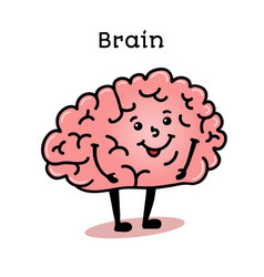 cute and funny human brain character vector image