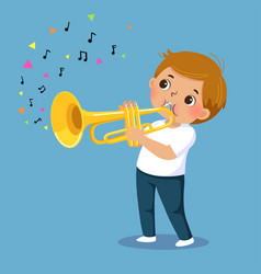 Cute boy playing trumpet on blue background vector