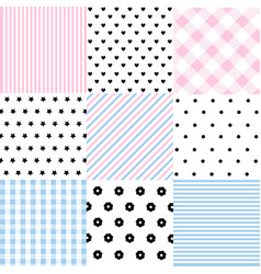 Cute set of baby seamless patterns vector