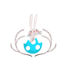 cute white easter bunny sitting in egg shell vector image