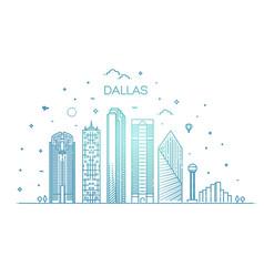 Dallas architecture line skyline vector